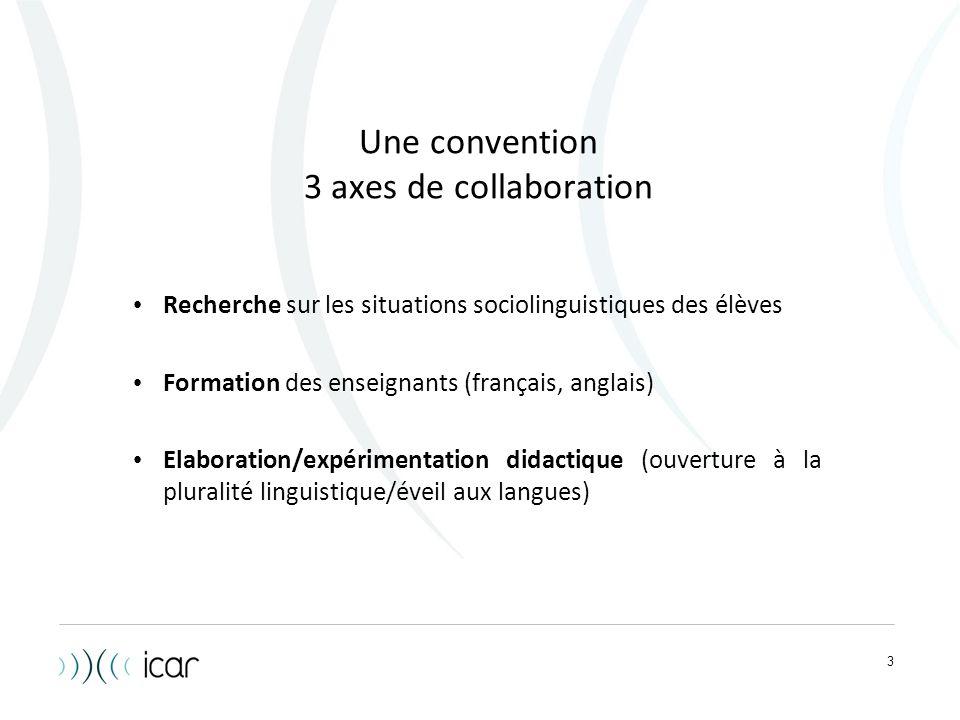 3 Une convention 3 axes de collaboration Recherche sur les situations sociolinguistiques des élèves Formation des enseignants (français, anglais) Elab