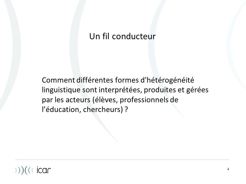 4 Un fil conducteur Comment différentes formes d'hétérogénéité linguistique sont interprétées, produites et gérées par les acteurs (élèves, profession
