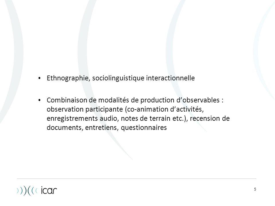 5 Ethnographie, sociolinguistique interactionnelle Combinaison de modalités de production d'observables : observation participante (co-animation d'act