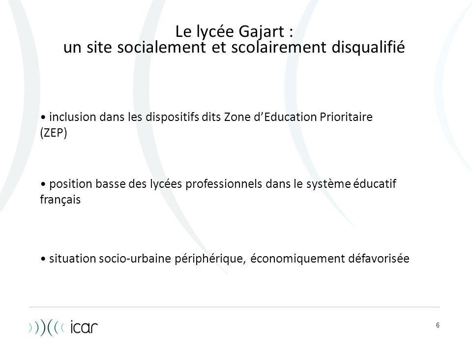 6 Le lycée Gajart : un site socialement et scolairement disqualifié inclusion dans les dispositifs dits Zone d'Education Prioritaire (ZEP) position ba