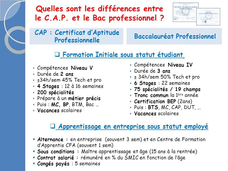 CAP : Certificat d'Aptitude Professionnelle Baccalauréat Professionnel  Compétences Niveau V  Durée de 2 ans  ±34h/sem 45% Tech et pro  4 Stages :
