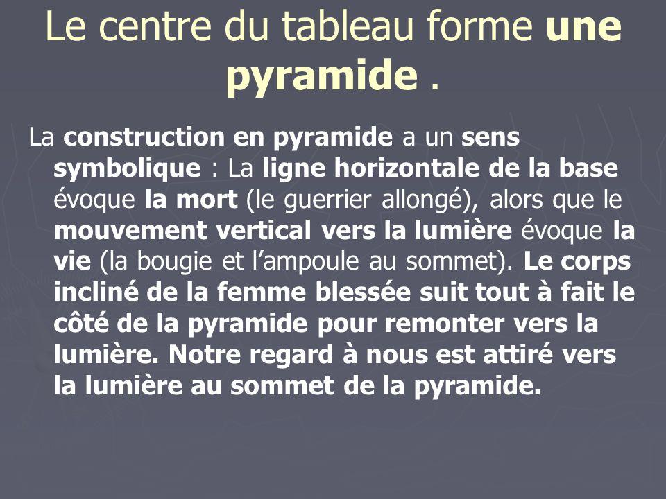 Le centre du tableau forme une pyramide. La construction en pyramide a un sens symbolique : La ligne horizontale de la base évoque la mort (le guerrie