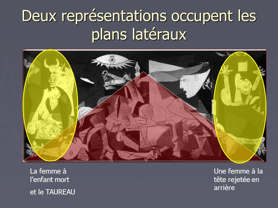 Deux représentations occupent les plans latéraux Une femme à la tête rejetée en arrière La femme à l'enfant mort et le TAUREAU