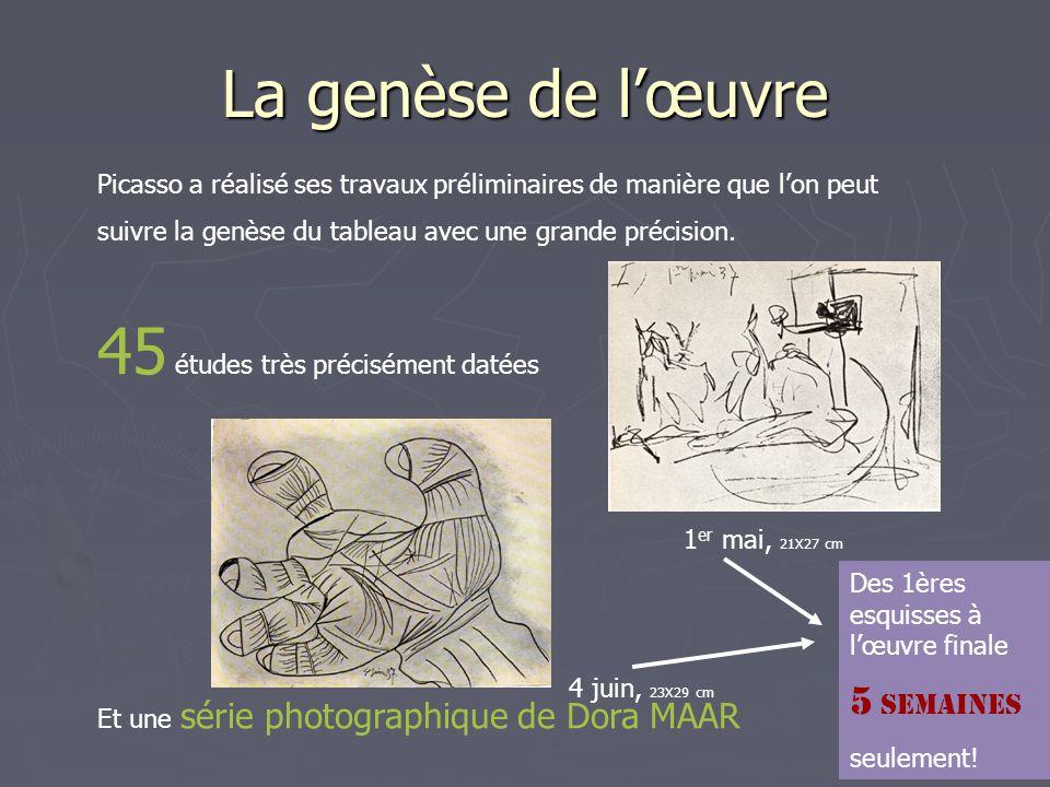La genèse de l'œuvre Picasso a réalisé ses travaux préliminaires de manière que l'on peut suivre la genèse du tableau avec une grande précision. 45 ét