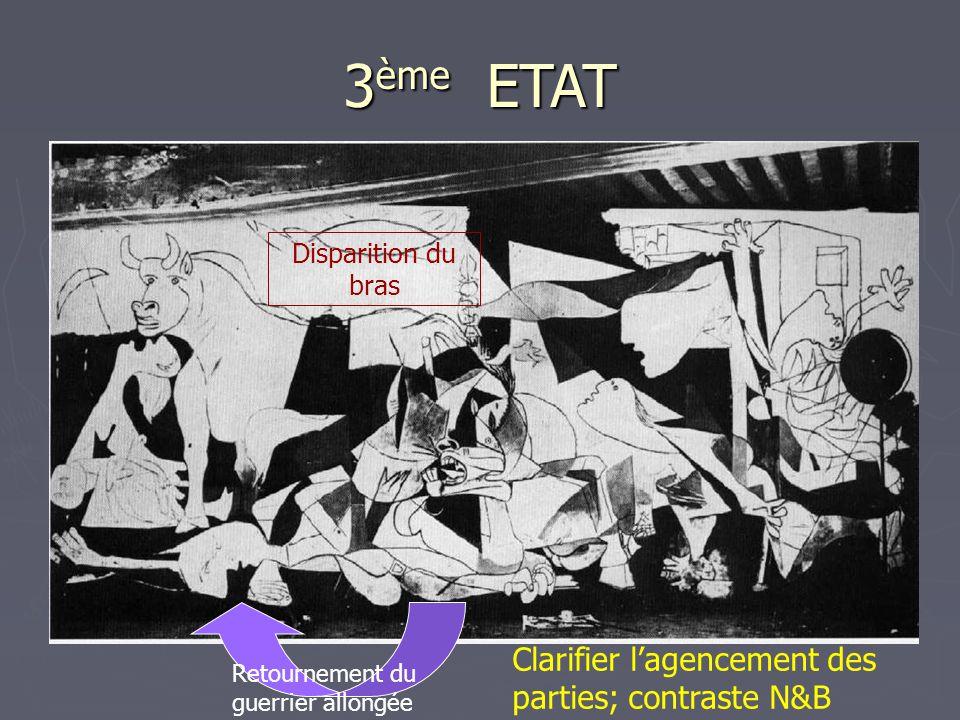 3 ème ETAT Disparition du bras Retournement du guerrier allongée Clarifier l'agencement des parties; contraste N&B