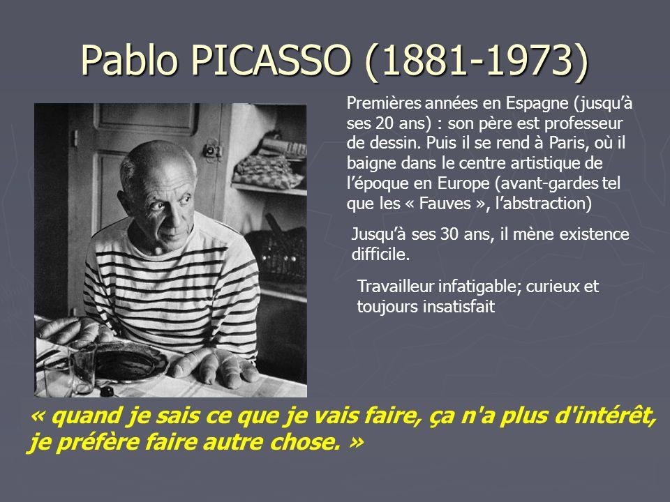 Pablo PICASSO (1881-1973) Premières années en Espagne (jusqu'à ses 20 ans) : son père est professeur de dessin. Puis il se rend à Paris, où il baigne