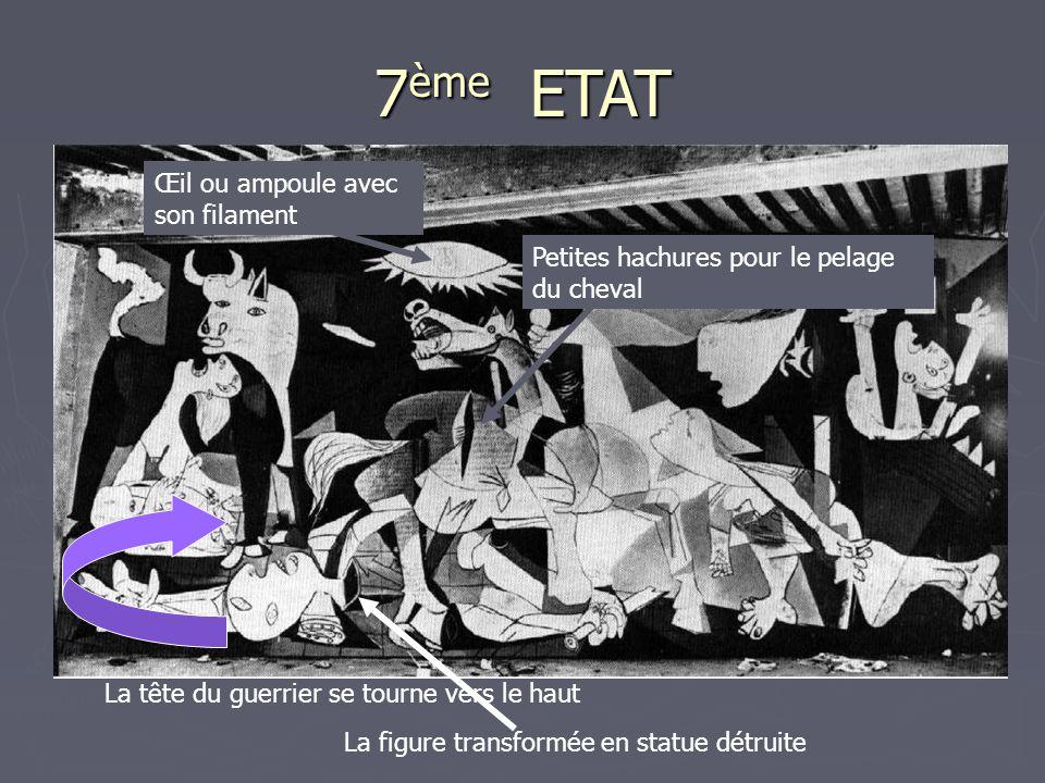 7 ème ETAT La tête du guerrier se tourne vers le haut La figure transformée en statue détruite Petites hachures pour le pelage du cheval Œil ou ampoul
