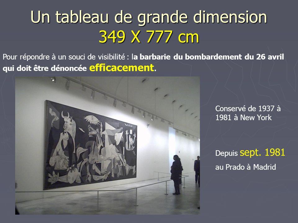 Un tableau de grande dimension 349 X 777 cm Pour répondre à un souci de visibilité : la barbarie du bombardement du 26 avril qui doit être dénoncée ef