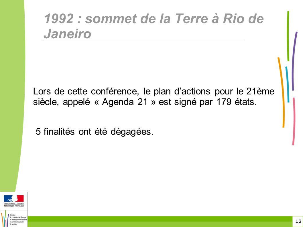 12 1992 : sommet de la Terre à Rio de Janeiro Lors de cette conférence, le plan d'actions pour le 21ème siècle, appelé « Agenda 21 » est signé par 179