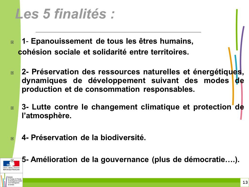 13 Les 5 finalités :  1- Epanouissement de tous les êtres humains, cohésion sociale et solidarité entre territoires.  2- Préservation des ressources