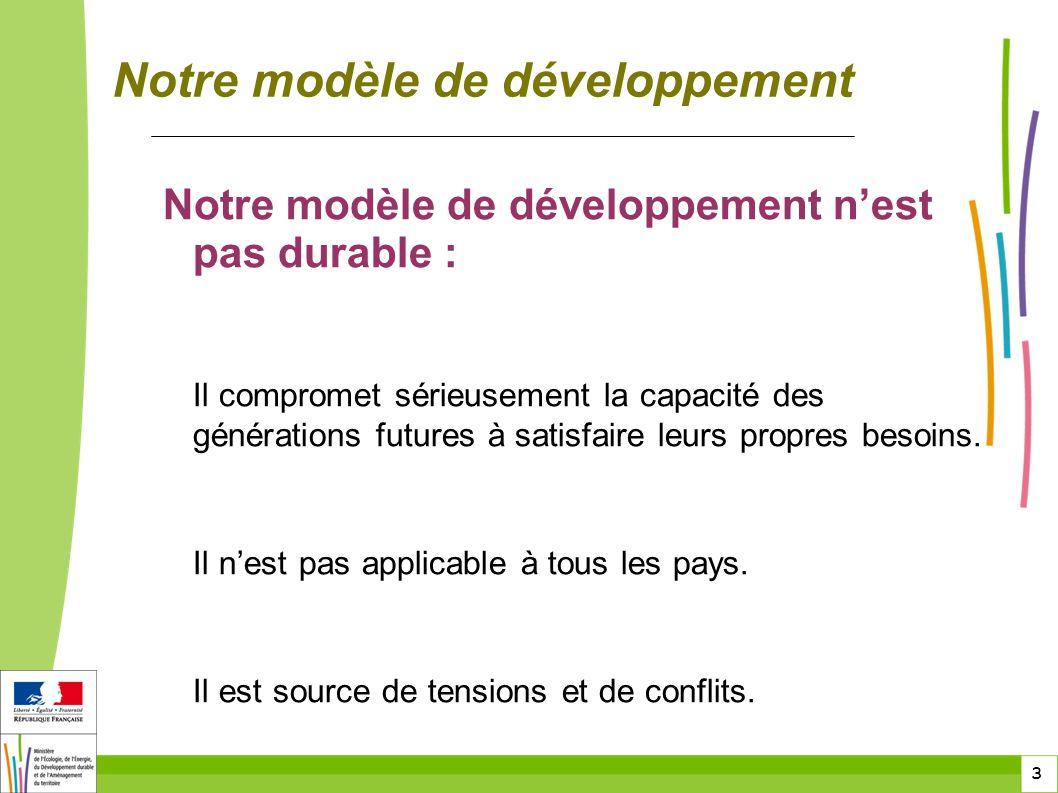 3 3 Notre modèle de développement Notre modèle de développement n'est pas durable : Il compromet sérieusement la capacité des générations futures à sa