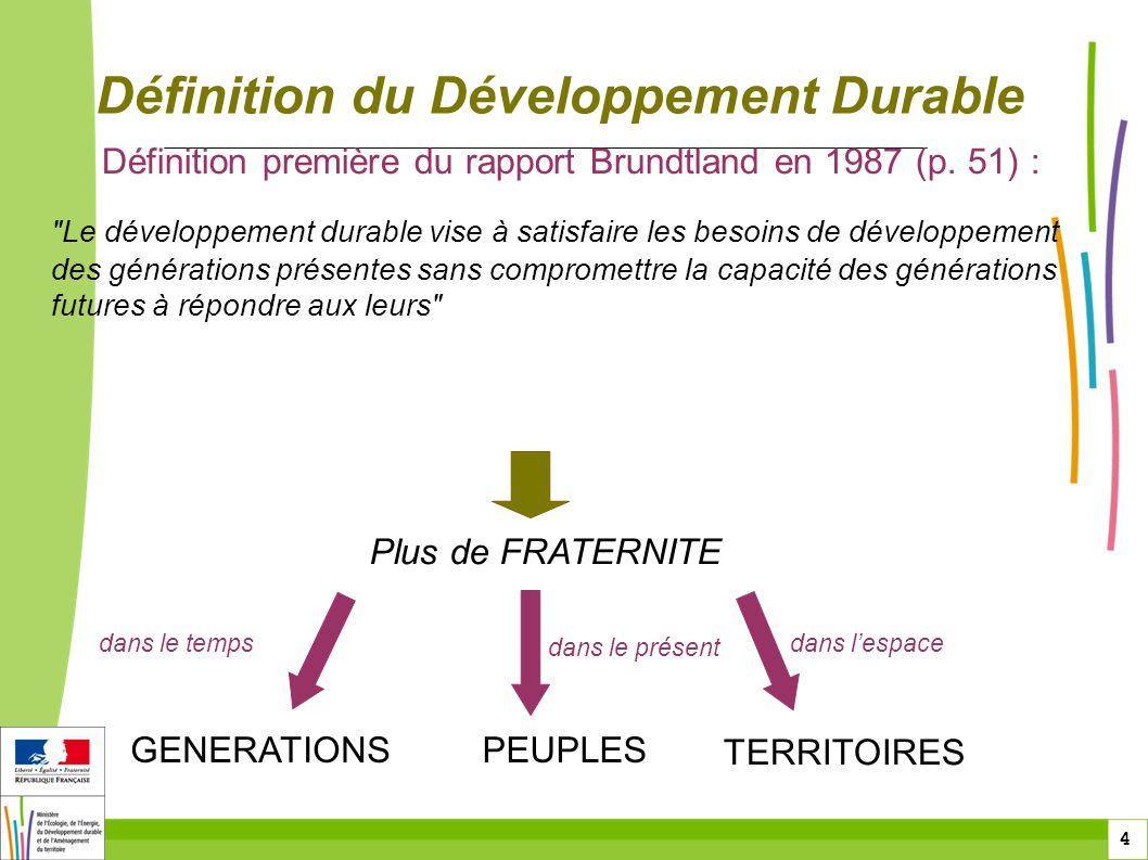 4 4 Définition du Développement Durable Définition première du rapport Brundtland en 1987 (p. 51) :