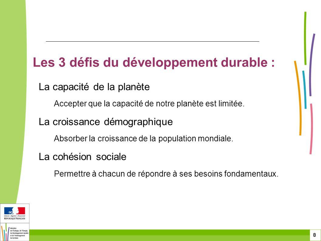 8 8 Les 3 défis du développement durable : La capacité de la planète Accepter que la capacité de notre planète est limitée. La croissance démographiqu