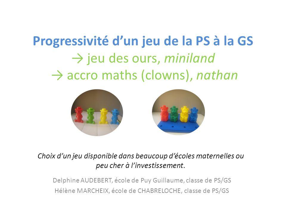 Progressivité d'un jeu de la PS à la GS → jeu des ours, miniland → accro maths (clowns), nathan Delphine AUDEBERT, école de Puy Guillaume, classe de P