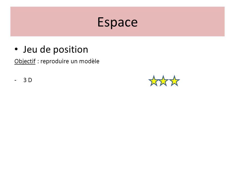Jeu de position Objectif : reproduire un modèle -3 D Espace