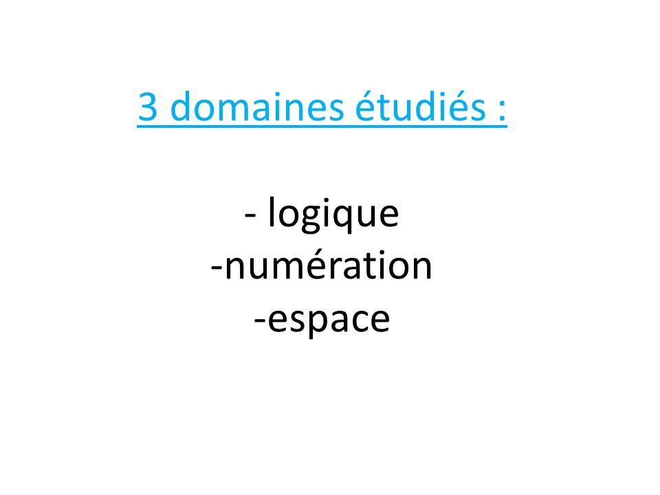 3 domaines étudiés : - logique -numération -espace