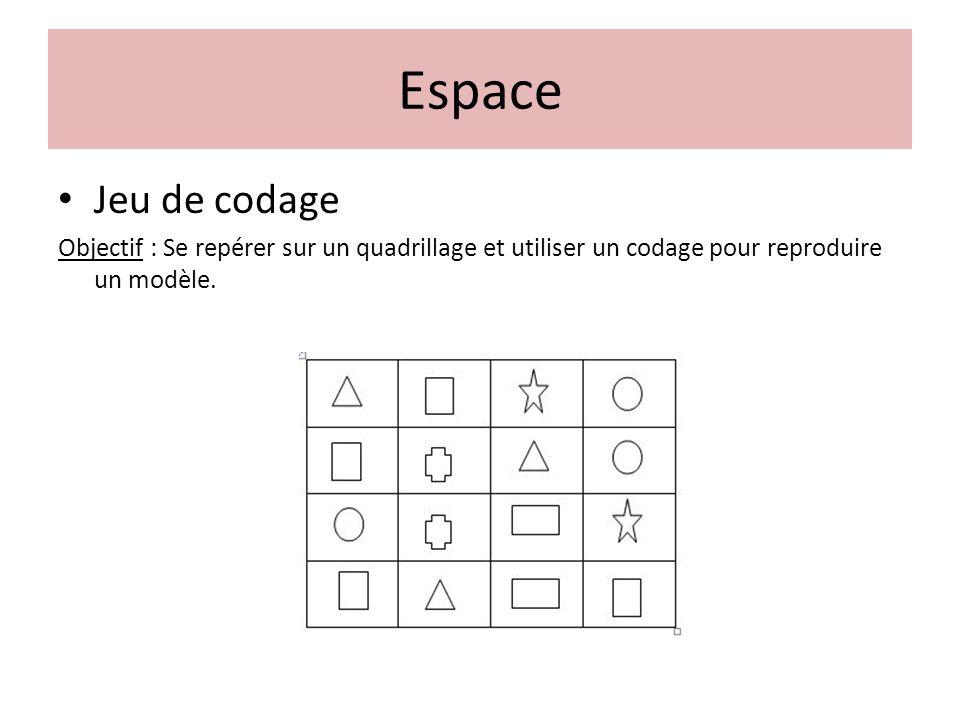 Jeu de codage Objectif : Se repérer sur un quadrillage et utiliser un codage pour reproduire un modèle. Espace