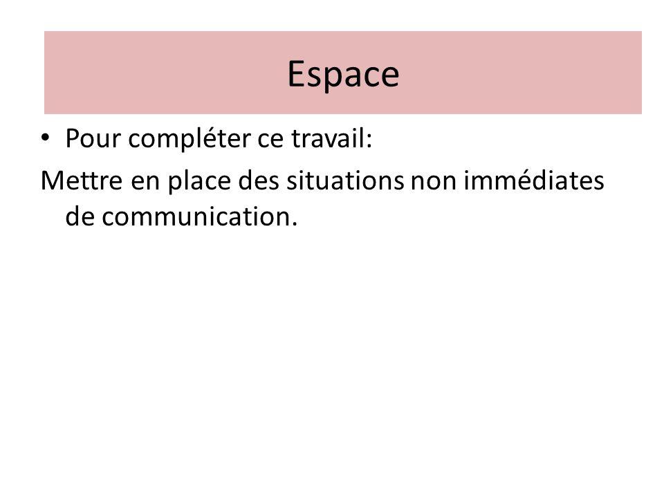 Pour compléter ce travail: Mettre en place des situations non immédiates de communication. Espace