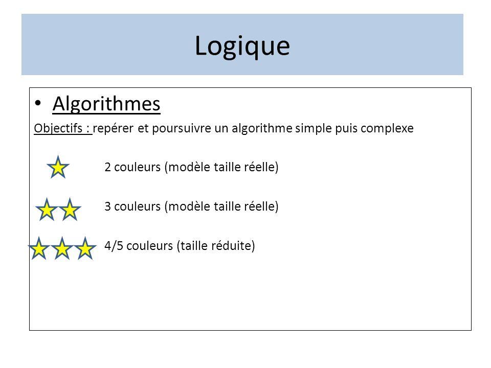 Logique Algorithmes Objectifs : repérer et poursuivre un algorithme simple puis complexe 2 couleurs (modèle taille réelle) 3 couleurs (modèle taille r