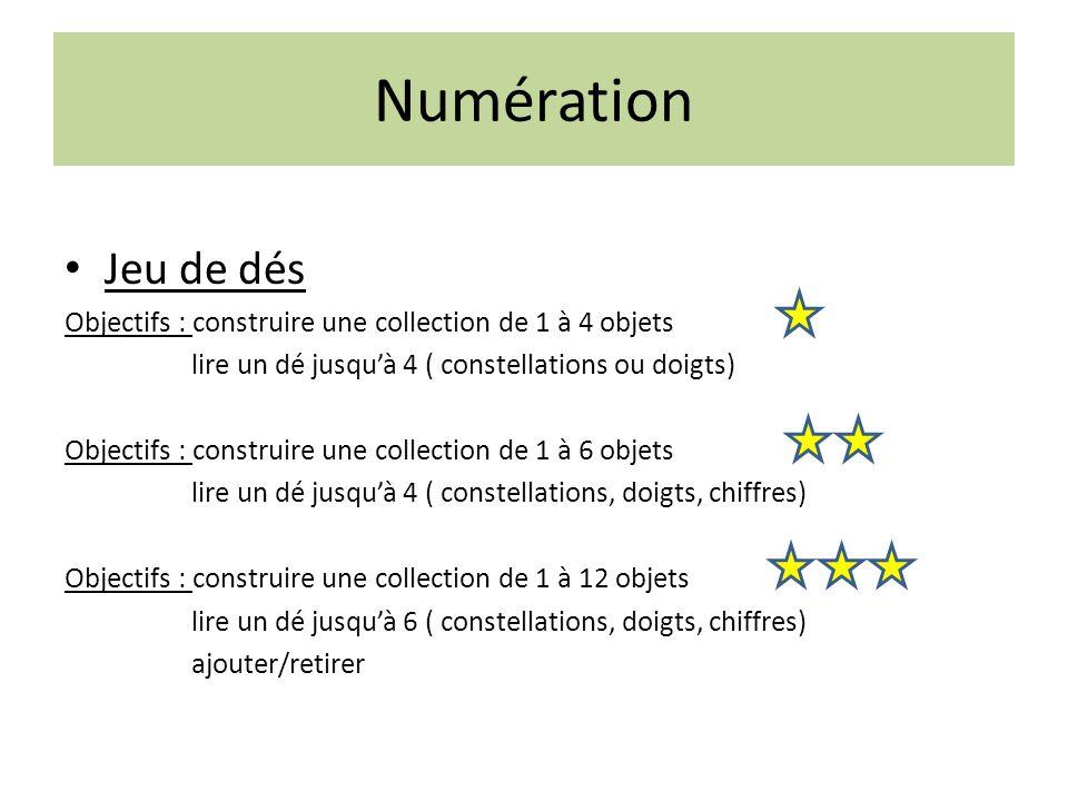 Numération Jeu de dés Objectifs : construire une collection de 1 à 4 objets lire un dé jusqu'à 4 ( constellations ou doigts) Objectifs : construire un