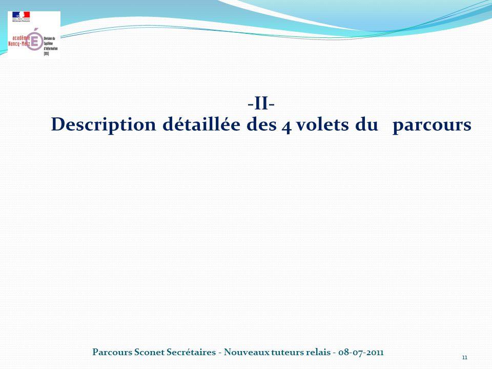 -II- Description détaillée des 4 volets du parcours Parcours Sconet Secrétaires - Nouveaux tuteurs relais - 08-07-2011 11