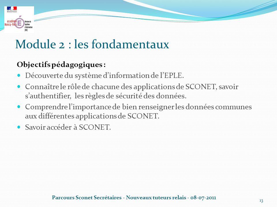 Module 2 : les fondamentaux Objectifs pédagogiques : Découverte du système d'information de l'EPLE.