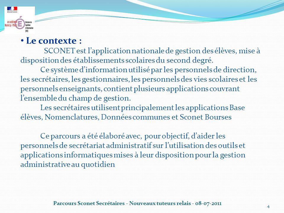 4 Le contexte : SCONET est l'application nationale de gestion des élèves, mise à disposition des établissements scolaires du second degré.