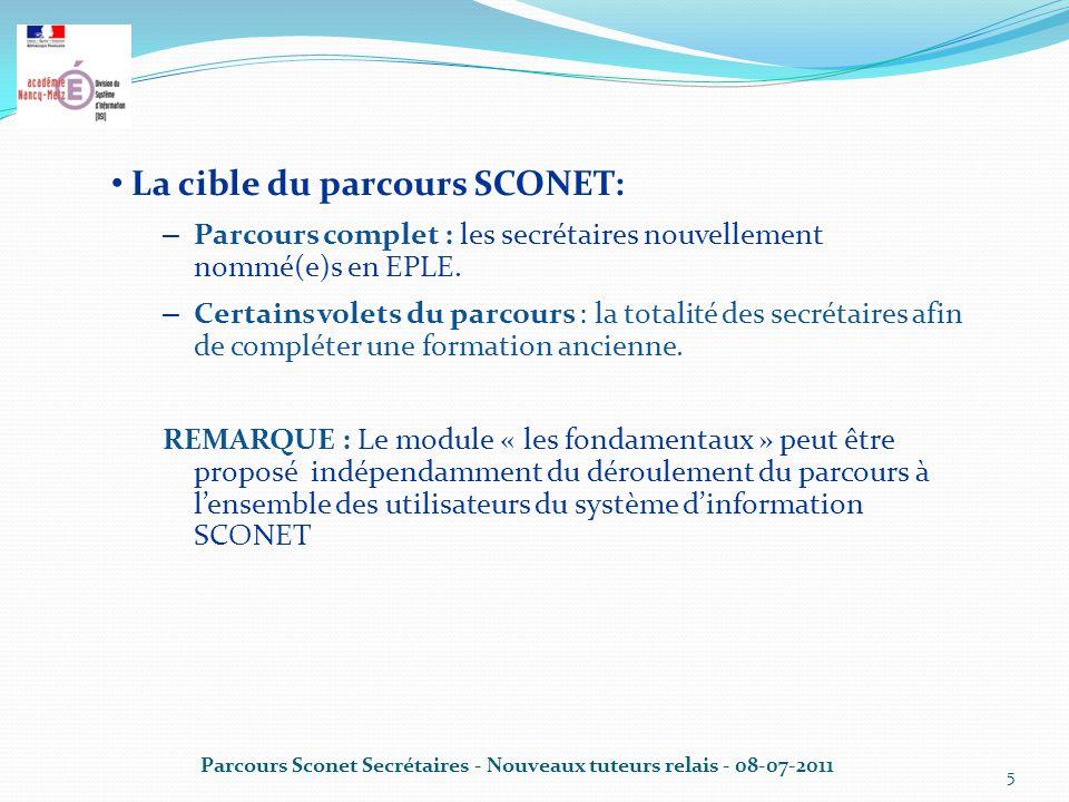 Parcours Sconet Secrétaires - Nouveaux tuteurs relais - 08-07-2011 5 La cible du parcours SCONET: – Parcours complet : les secrétaires nouvellement nommé(e)s en EPLE.