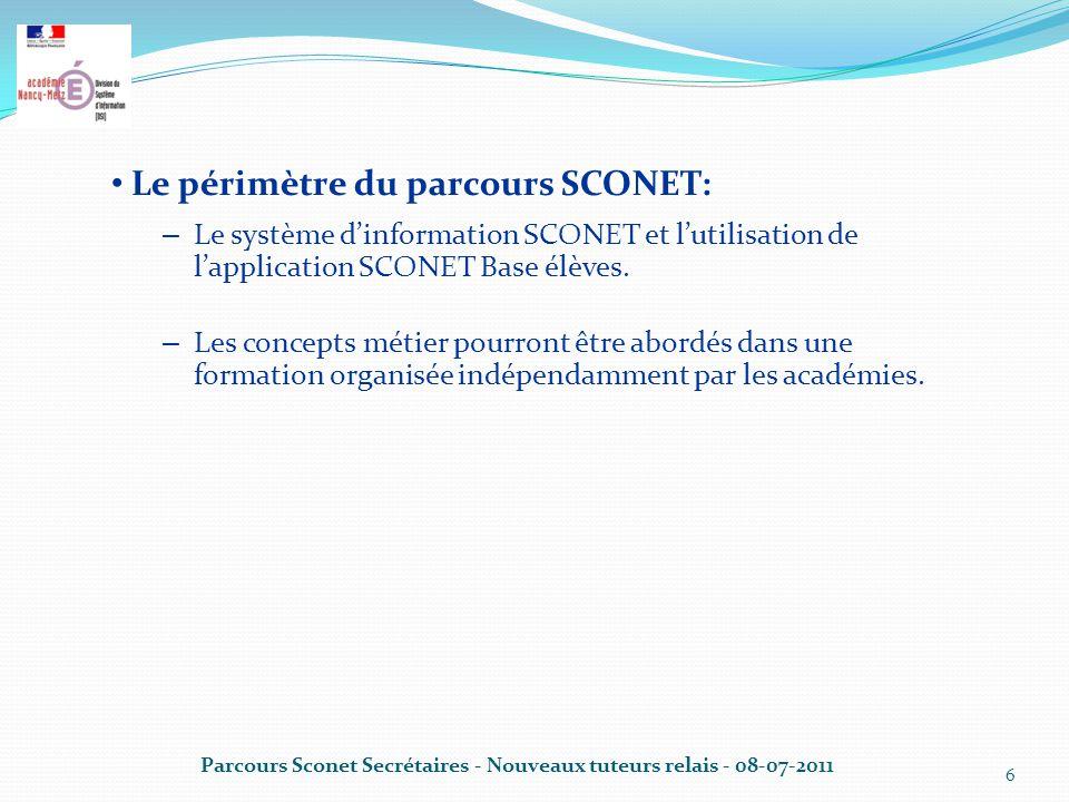 Parcours Sconet Secrétaires - Nouveaux tuteurs relais - 08-07-2011 6 Le périmètre du parcours SCONET: – Le système d'information SCONET et l'utilisation de l'application SCONET Base élèves.