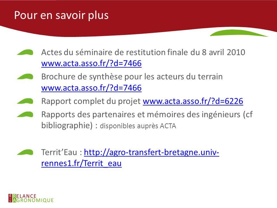Pour en savoir plus Actes du séminaire de restitution finale du 8 avril 2010 www.acta.asso.fr/?d=7466 www.acta.asso.fr/?d=7466 Brochure de synthèse po