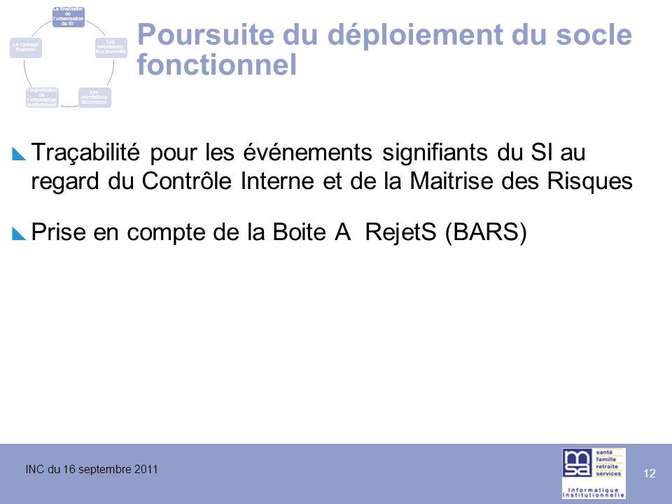 INC du 16 septembre 2011 12 Poursuite du déploiement du socle fonctionnel  Traçabilité pour les événements signifiants du SI au regard du Contrôle In