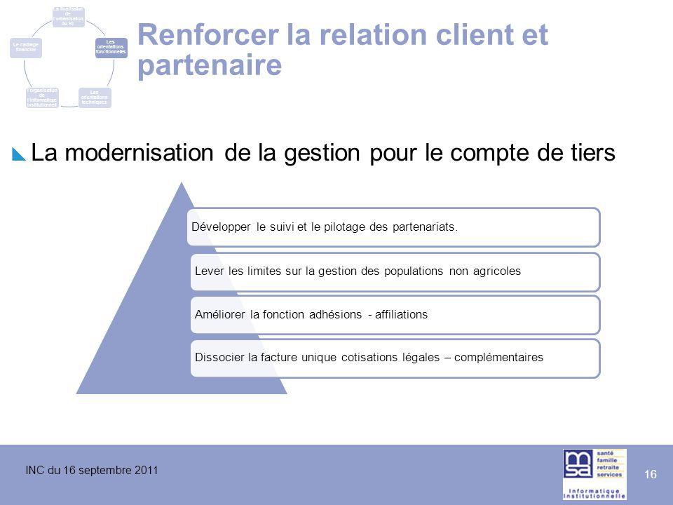 INC du 16 septembre 2011 16 Renforcer la relation client et partenaire  La modernisation de la gestion pour le compte de tiers Développer le suivi et