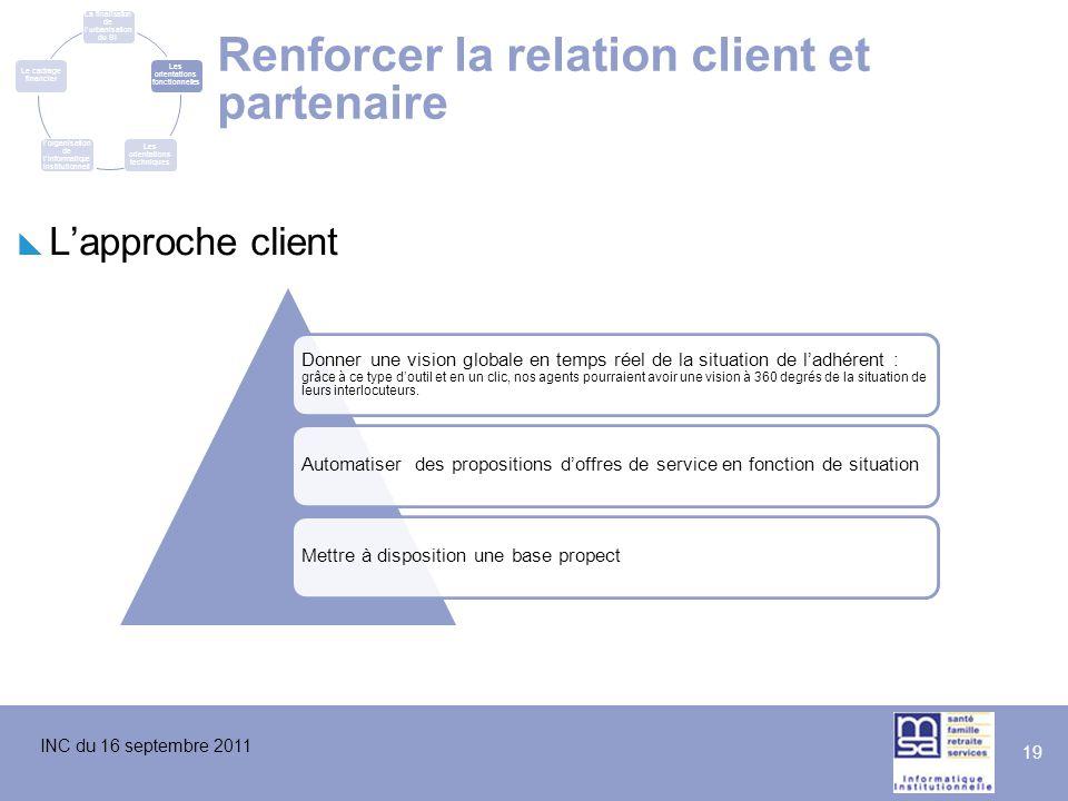 INC du 16 septembre 2011 19 Renforcer la relation client et partenaire  L'approche client Donner une vision globale en temps réel de la situation de