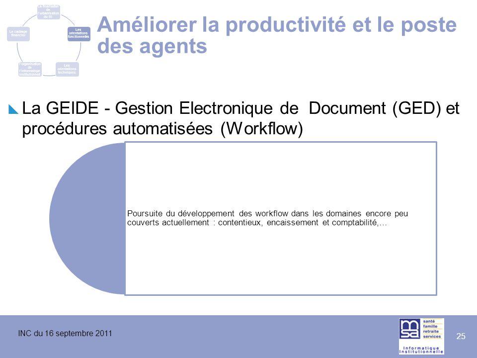 INC du 16 septembre 2011 25 Améliorer la productivité et le poste des agents  La GEIDE - Gestion Electronique de Document (GED) et procédures automat