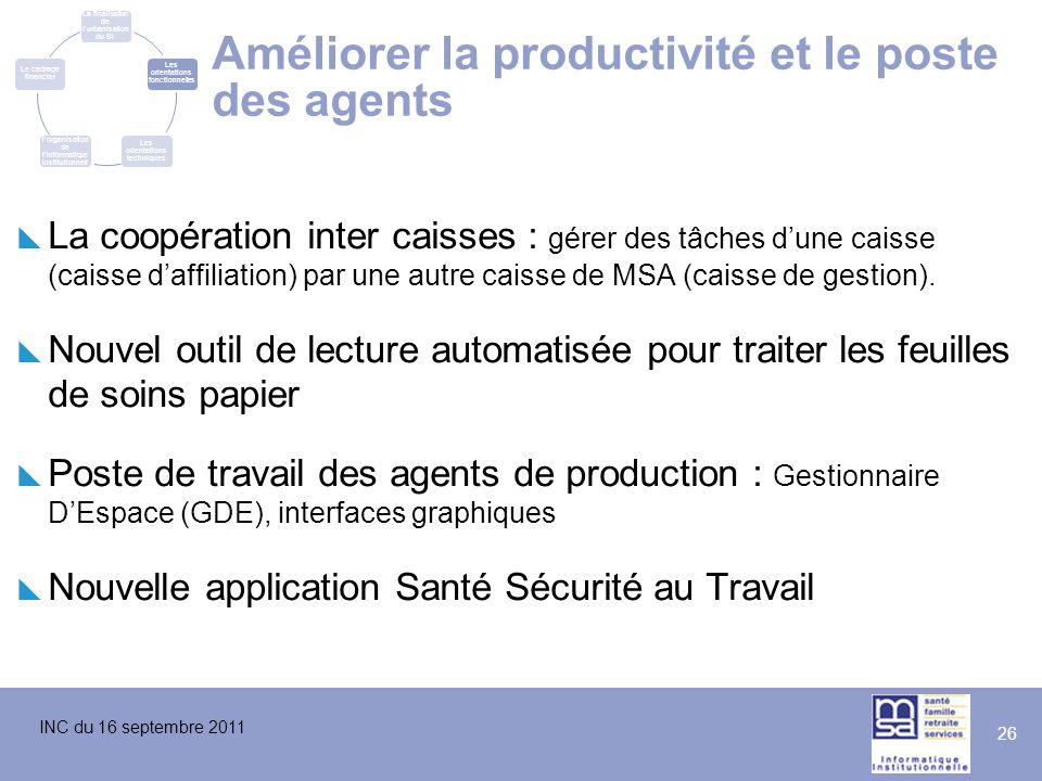 INC du 16 septembre 2011 26 Améliorer la productivité et le poste des agents  La coopération inter caisses : gérer des tâches d'une caisse (caisse d'