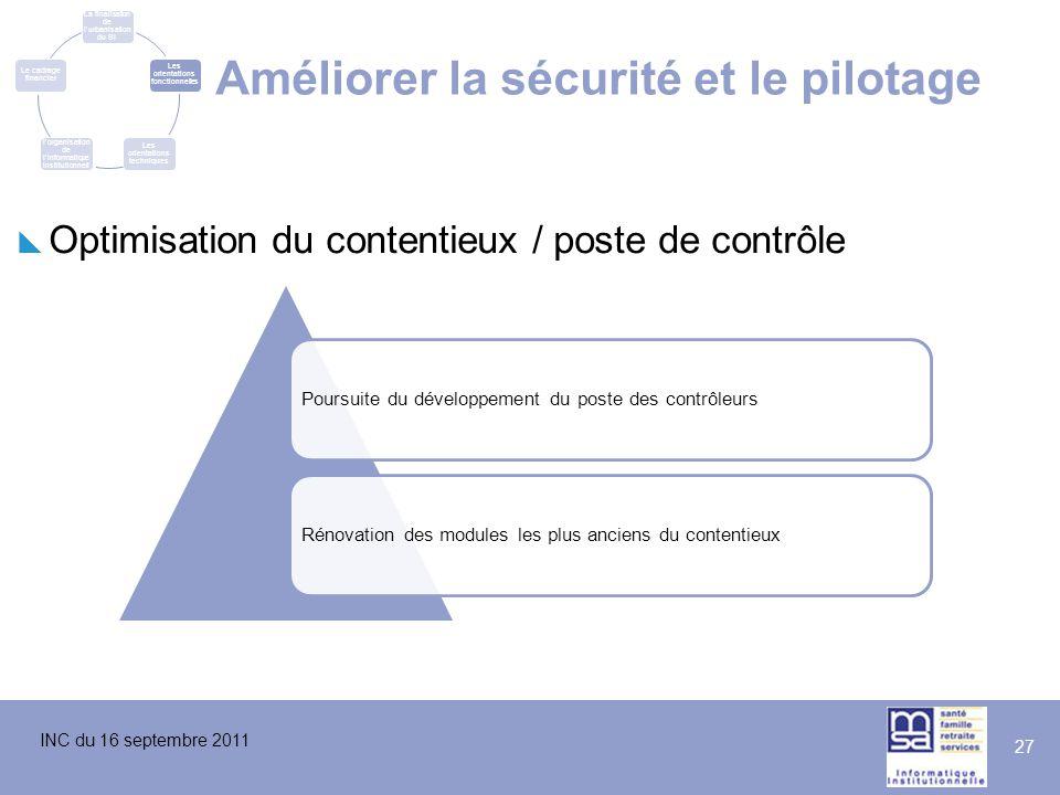 INC du 16 septembre 2011 27 Améliorer la sécurité et le pilotage  Optimisation du contentieux / poste de contrôle Poursuite du développement du poste