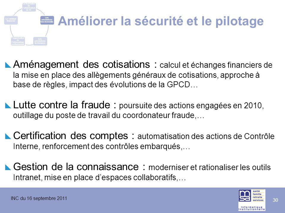 INC du 16 septembre 2011 30 Améliorer la sécurité et le pilotage  Aménagement des cotisations : calcul et échanges financiers de la mise en place des