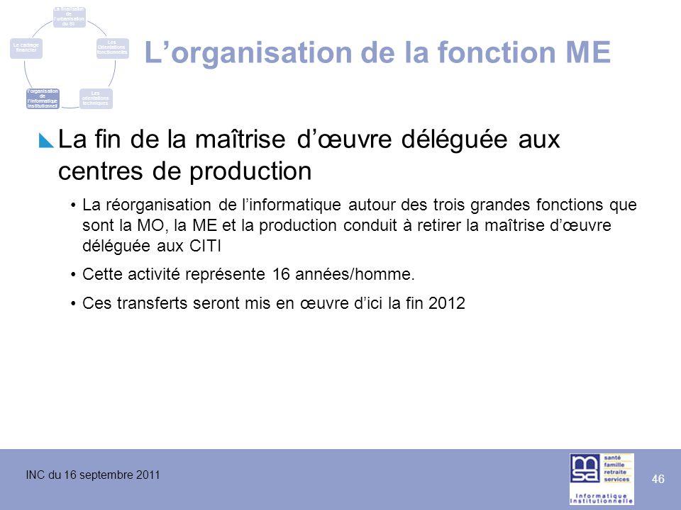 INC du 16 septembre 2011 46  La fin de la maîtrise d'œuvre déléguée aux centres de production La réorganisation de l'informatique autour des trois gr