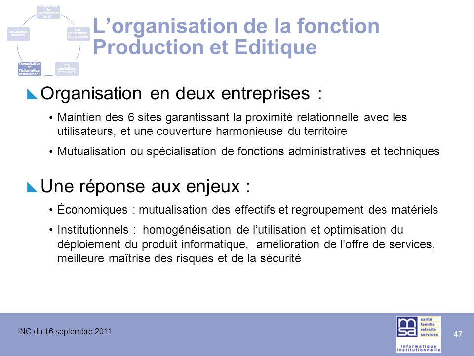 INC du 16 septembre 2011 47 L'organisation de la fonction Production et Editique  Organisation en deux entreprises : Maintien des 6 sites garantissan