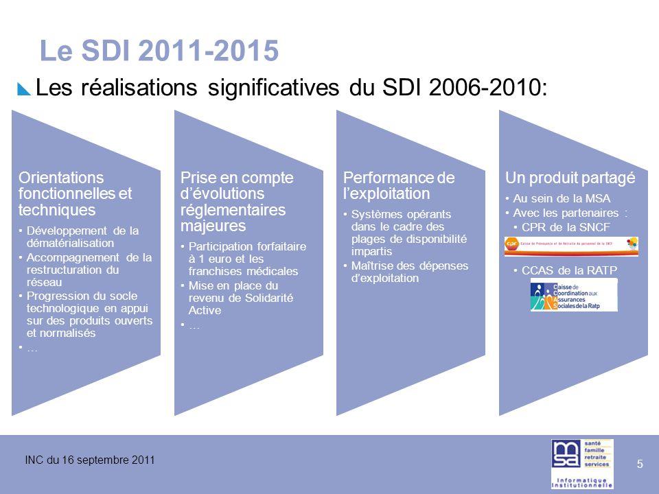 INC du 16 septembre 2011 5 Le SDI 2011-2015  Les réalisations significatives du SDI 2006-2010: Orientations fonctionnelles et techniques Développemen