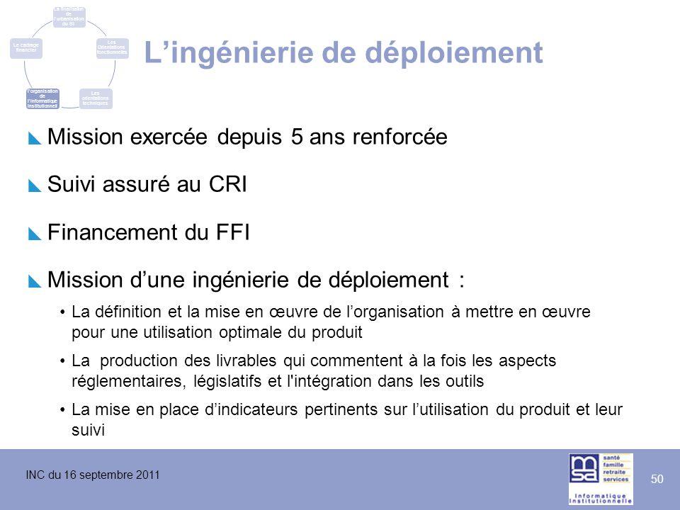 INC du 16 septembre 2011 50 L'ingénierie de déploiement  Mission exercée depuis 5 ans renforcée  Suivi assuré au CRI  Financement du FFI  Mission