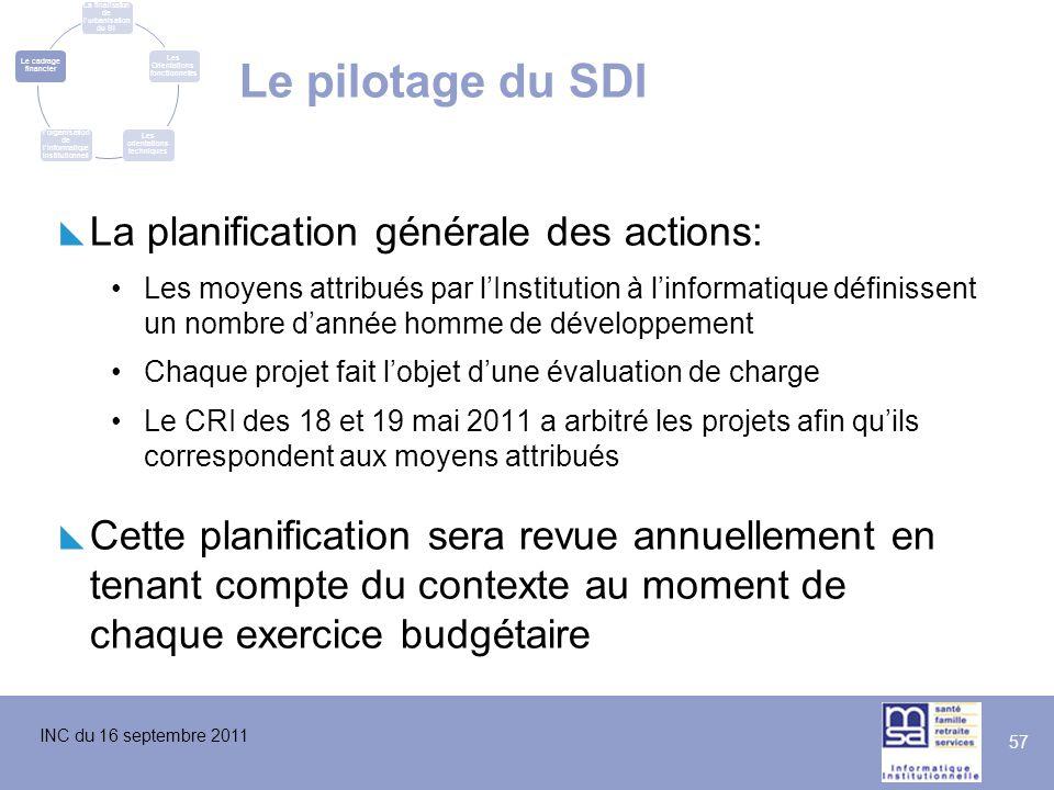 INC du 16 septembre 2011 57 Le pilotage du SDI La finalisation de l'urbanisation du SI Les Orientations fonctionnelles Les orientations techniques L'é