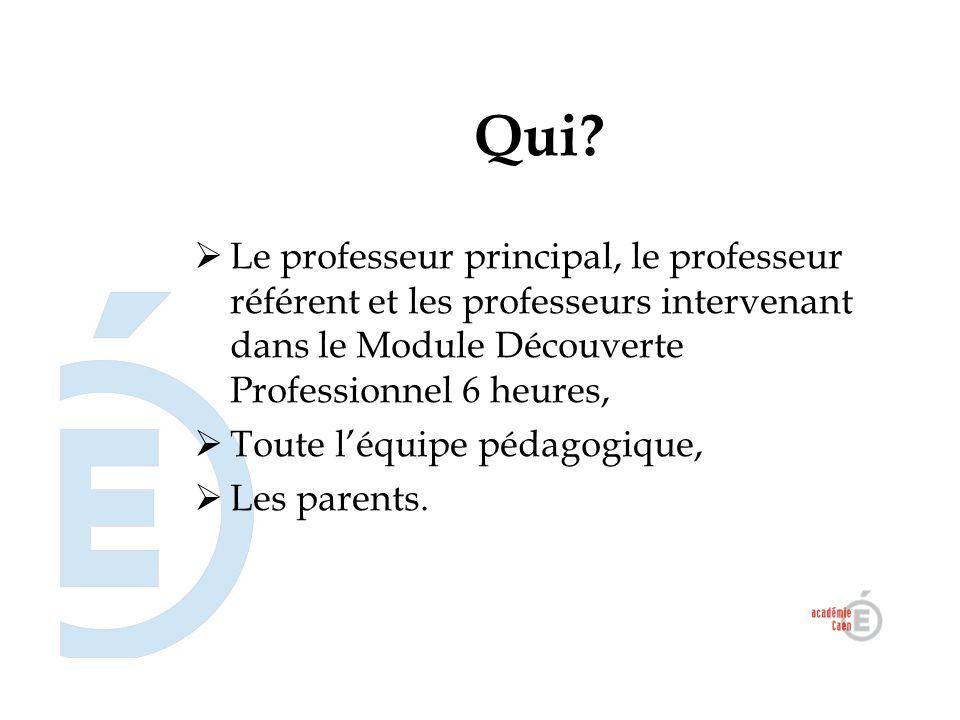 Qui?  Le professeur principal, le professeur référent et les professeurs intervenant dans le Module Découverte Professionnel 6 heures,  Toute l'équi
