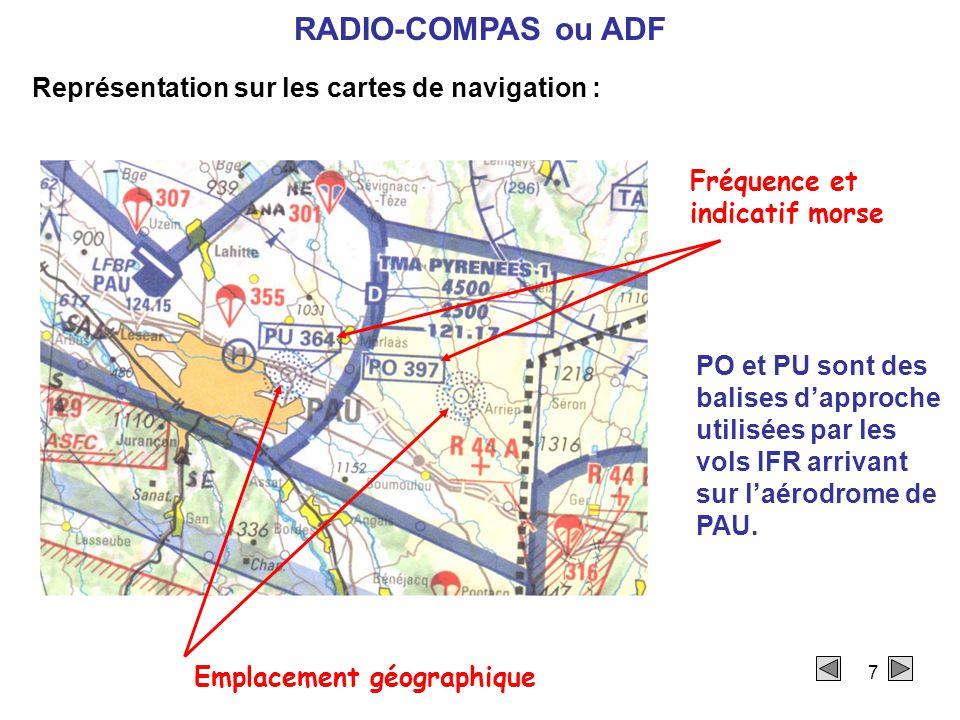 7 Représentation sur les cartes de navigation : Emplacement géographique Fréquence et indicatif morse PO et PU sont des balises d'approche utilisées par les vols IFR arrivant sur l'aérodrome de PAU.