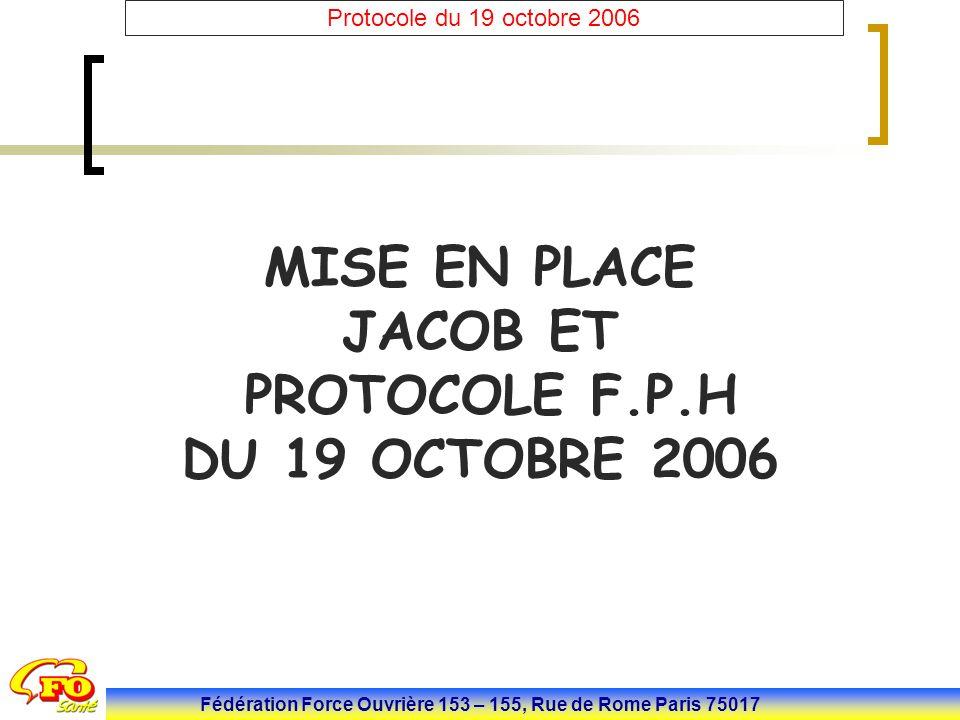 Fédération Force Ouvrière 153 – 155, Rue de Rome Paris 75017 Protocole du 19 octobre 2006 MISE EN PLACE JACOB ET PROTOCOLE F.P.H DU 19 OCTOBRE 2006