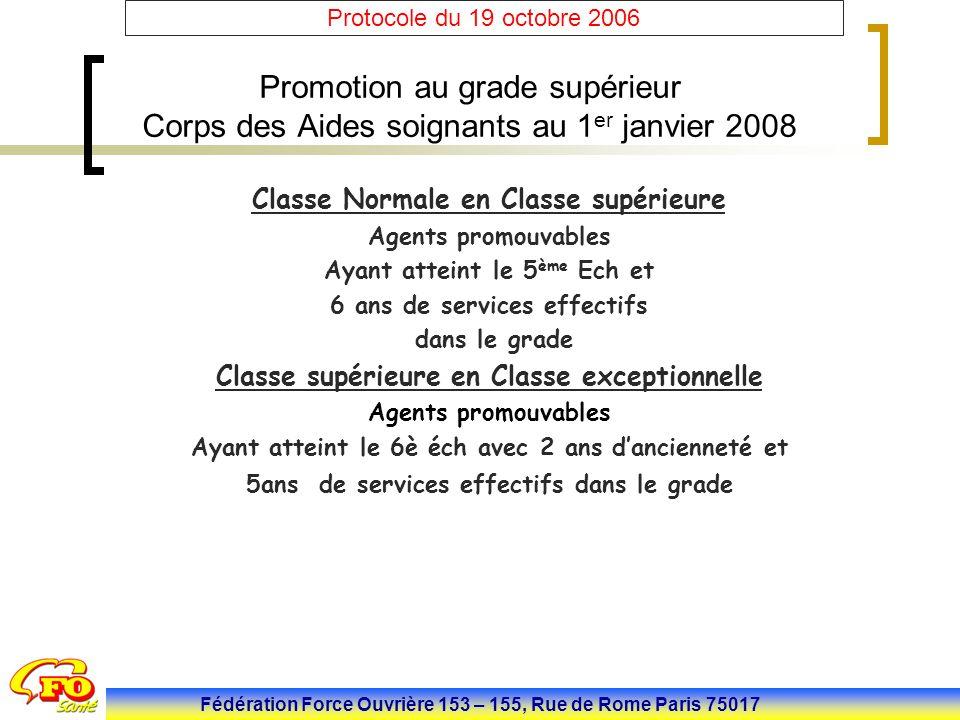 Fédération Force Ouvrière 153 – 155, Rue de Rome Paris 75017 Protocole du 19 octobre 2006 Promotion au grade supérieur Corps des Aides soignants au 1