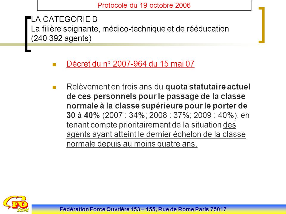 Fédération Force Ouvrière 153 – 155, Rue de Rome Paris 75017 Protocole du 19 octobre 2006 LA CATEGORIE B La filière soignante, médico-technique et de