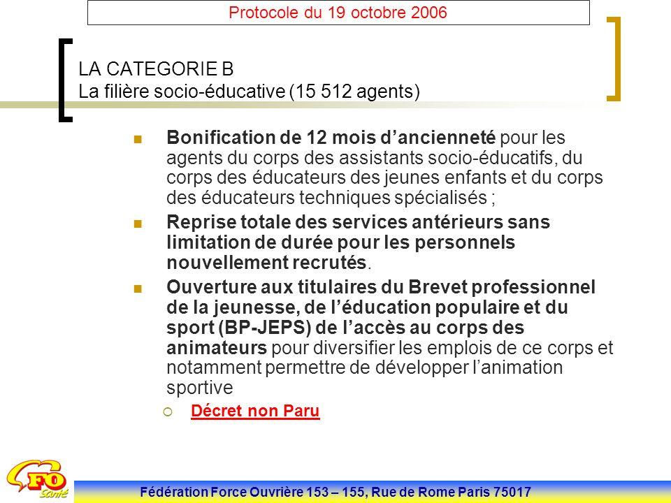 Fédération Force Ouvrière 153 – 155, Rue de Rome Paris 75017 Protocole du 19 octobre 2006 LA CATEGORIE B La filière socio-éducative (15 512 agents) Bo