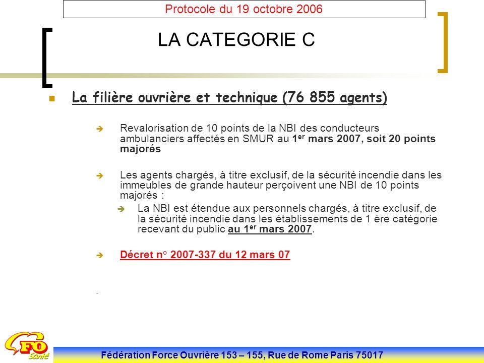 Fédération Force Ouvrière 153 – 155, Rue de Rome Paris 75017 Protocole du 19 octobre 2006 LA CATEGORIE C La filière ouvrière et technique (76 855 agen