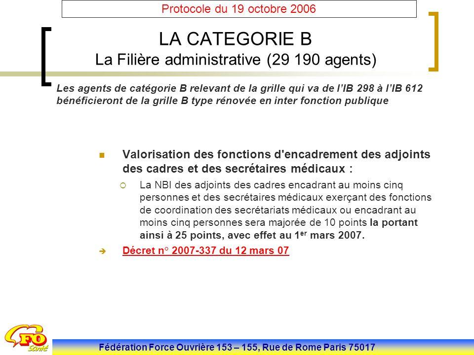 Fédération Force Ouvrière 153 – 155, Rue de Rome Paris 75017 Protocole du 19 octobre 2006 LA CATEGORIE B La Filière administrative (29 190 agents) Val
